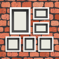 Template banner on brick wall background. Can be used for cards, invitations, print and etc.