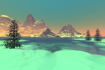 Frozen lake, a snowy landscape, coniferous trees, fog on the horizon and a clear sky.