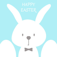 Happy easter vector illustration. Vector background with easter bunny and eggs.