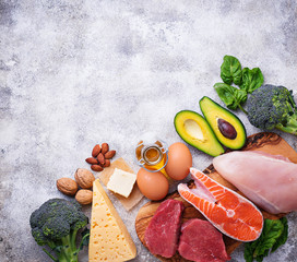 Healthy low carbs products. Ketogenic diet.