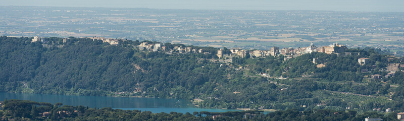 Aerial image of with the caldera named Lago Albano (Lake Albano) in front