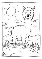 Ausmalbild Alpaka
