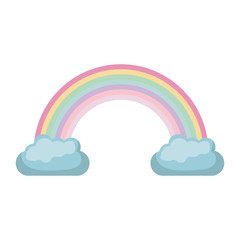 white background with rainbow between two clouds vector illustration
