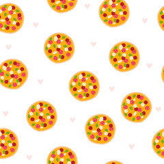 Seamless pattern with pizza. Vector hand drawn illustration.