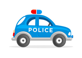 Toy police car cartoon illustration