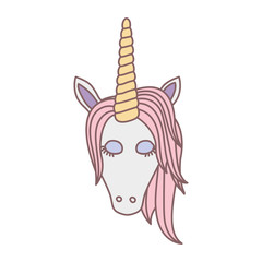 white background with front face of female unicorn with closed eyes and pink mane vector illustration