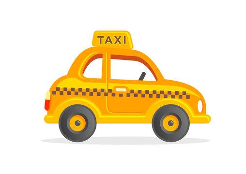 Toy taxi yellow cab car cartoon illustration