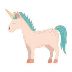 white background with cartoon unicorn standing with closed eyes vector illustration