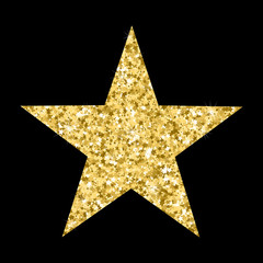 Vector luxury gold star. Element for advertising poster for restaurant, boutique and cafe, jewelry, fashion and party.