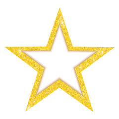Vector luxury gold star. A beautiful golden star, consisting of many small gold confetti. Star with frame for text