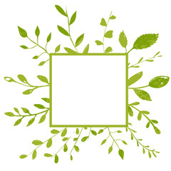 Square frame with plants, branches and leaves. Natural background with copyspace.