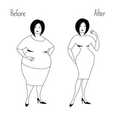 Plump woman and the same woman after losing weight. Vector illustration in white and black colors.