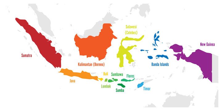 Main islands of Indonesia. Vector map with names.