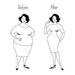 Plump woman before and after losing weight. Healthy lifestyle concept. Vector illustration in white and black colors.