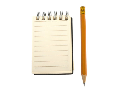 small notebook with rings and pencil on white background