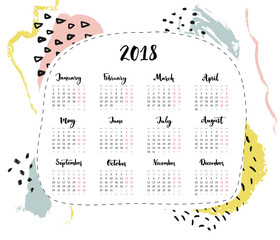 One page 2018 calendar, 4 columns with calligraphy written month names. Abstract hand drawn modern minimalistic background with brush strokes and marks.