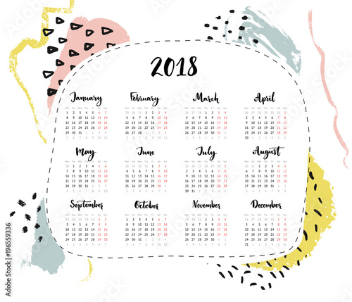 One Page 2018 Calendar 4 Columns With Calligraphy Written Month Names Abstract Hand Drawn