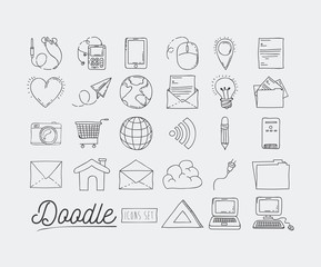 monochrome poster hand drawn with set of technology devices and internet icons and office tools of daily use vector illustration