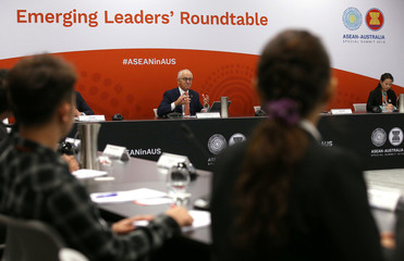 Australian Prime Minister Malcolm Turnbull reacts as he speaks to delegates during the opening remarks for an Emerging Leaders roundtable during the one-off summit of 10-member Association of Southeast Asian Nations (ASEAN) in Sydney