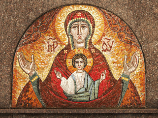 Mother of God with Jesus. Ethno picture of stones (religion, Christianity, faith concept)