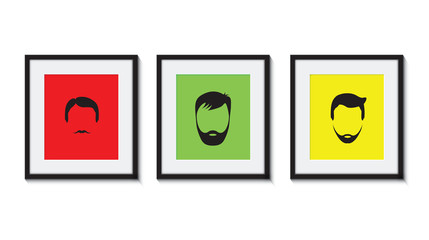 colourful set of bearded men in frames