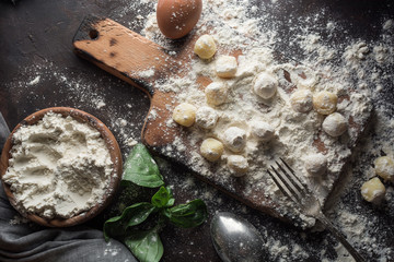 Raw gnocchi, typical Italian made of potato, flour and egg dish.