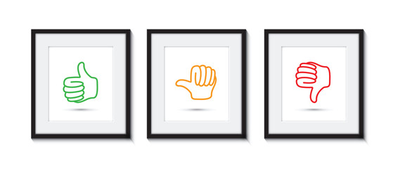 thumbs up and down in picture frames