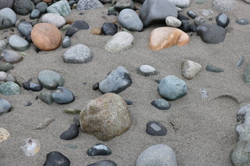 Rocks laying on the beach