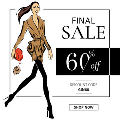 Fashion sale banner with woman fashion model with red lips bag, online shopping social media ads web template with beautiful girl. Vector illustration