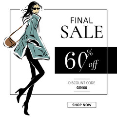 Black and white fashion sale banner with woman fashion silhouette, online shopping social media ads web template with beautiful girl. Vector illustration