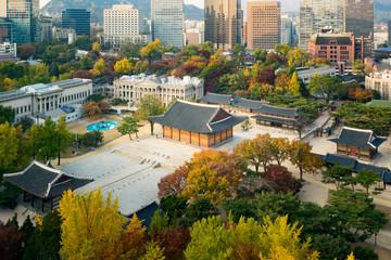 Foto op Aluminium Seoel Deoksugung Palace and Seoul city in autumn season in Seoul, South Korea.