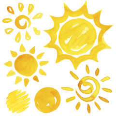 Shiny sun set watercolor illustration in yellow ink color