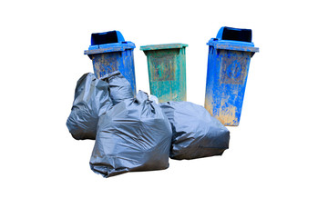 pile black garbage bag plastic and dustbin dirty on white background and clipping path with copy space add text