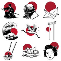 Illustration of Japanese traditional styles set