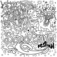 Hand Drawn Vector Illustration of Songkran Festival in Thailand,Doodle style