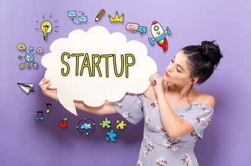 Startup with young woman holding a speech bubble