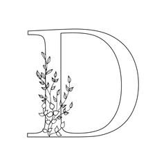 Floral letter D. Romantic lettering design with flowers.