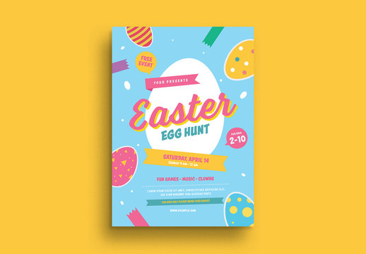 Colorful Easter Egg Hunt Flyer Layout