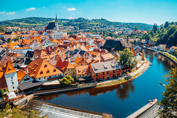 Cesky Krumlov cityscape and Vltava river in Czech Wall mural