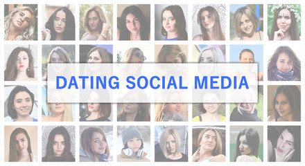 Dating social media. The title text is depicted on the background of a collage of many square female portraits. The concept of service for dating