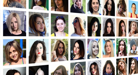 Collage group portraits of young caucasian girls for social media network. Set of square female avatar isolated on a white background
