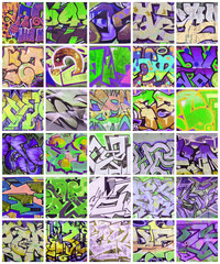 A set of many small fragments of graffiti drawings. Street art abstract background collage