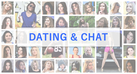 Dating and chat. The title text is depicted on the background of a collage of many square female portraits. The concept of service for dating
