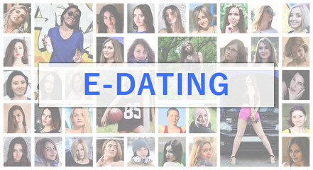 E-dating. The title text is depicted on the background of a collage of many square female portraits. The concept of service for dating