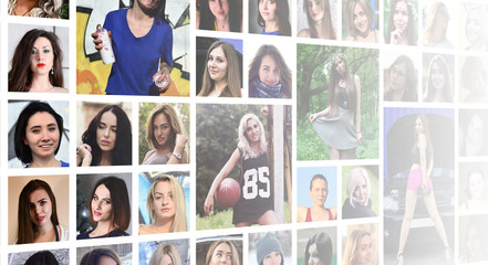 Collage group portraits of young caucasian girls for social media network. Set of round female pics isolated on a white background