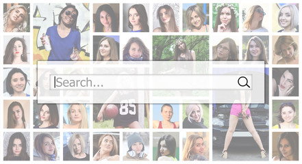 Search. The text is displayed in the search box on the background of a collage of many square female portraits. The concept of service for dating