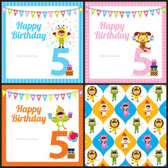 birthday card invitation with kids in animal costume