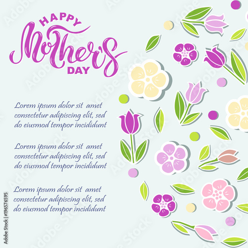 happy mother s day text isolated on background with pink flowers