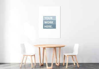 Poster Mockup with Table and Chairs
