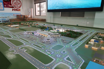 View of a model displaying the Second Phase development at Haikou Meilan International Airport in Haikou